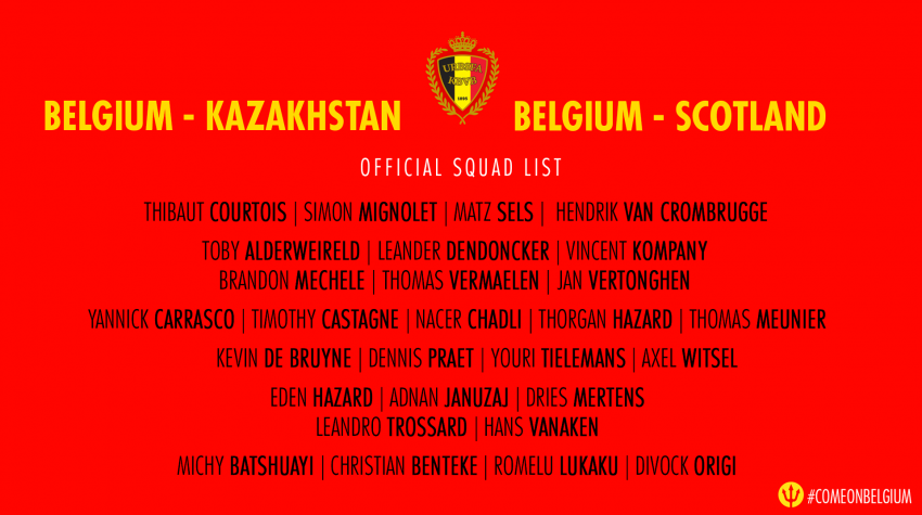 Squad list Belgian Red Devils vs Kazakhstan & Scotland